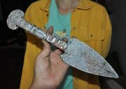Old China Ancient Old Jade Hand Carved Bat Skull Word Weapon Knife Sword Statue