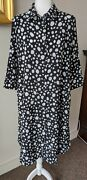New Comfy Usa Shirt Dress In Black W/ White Dots Large Cd309p Discontinued