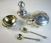 1936 Antique English Sterling Individual Salt Cellar Pepper And Mustard W Spoons