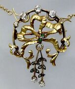 Antique Diamond Bow Tie Design Pendant Pin Necklace Solid 18k Yellow Gold