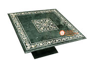Green Marble Coffee Table Top Mother Of Pearl Precious Inlay With Base H4040a