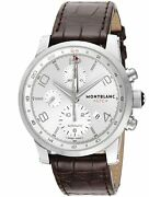 Time Walker Utc Automatic Silver Dial Menand039s Watch Brown Leather 107065