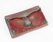 Id'd 18thc American Red Leather Silver Mounted Wallet Camden Ny Family History