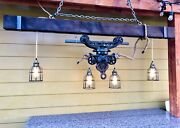 Antique Barn Hay Trolley Rustic Light Fixture W/ Rope And Edison Bulbs