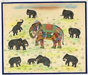 Handmade Composite Elephant Of Animals Painting Indian Miniature Art On Paper