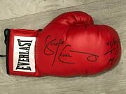 George Chuvalo Signed Boxing Gloves 2 - With Dates + Location Of Fights Vs Ali