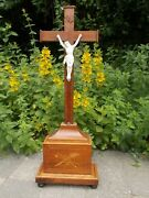 French Wood Cross Inlay Antique Standing Cross 19th Century Wooden Skull 24