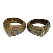 2823 Antique Rare Indonesian Bangles Silver Gold Plated With Rubies 19th C.