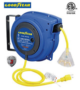 Goodyear Extension Cord Reel Heavy Duty, 40 Ft., 12awg/3c Sjtow, Triple Tap With