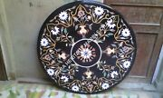 48 Round Marble Black Dining Table Top Inlay Marquetry Inlay Patio Decor H1975a