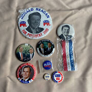 Collection Of 8 Ronald Reagan And George Bush Presidential Campaign Buttons And Pins