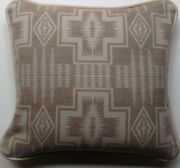 18x20 Cream Leather And Wool Sw Pattern Pillow Made With Pendletonandreg Fabric