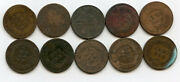 1876 Indian Head Penny 10-coin Lot Cull Pennies Collection Cents Group - Bh758
