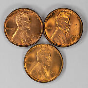 1948 P / D / S Lincoln Wheat Cent Penny 1c Gem Bu Brilliant Red Set Of 3 Coins