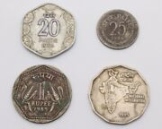 Very Rare Lot Of 4 Asia India Republic Coins From 20 Paise To 2 Rupee Circulated