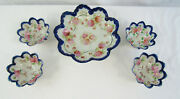 Antique Victorian Early Nippon Moriage Beaded Bowl With 4 Footed Nut Bowls