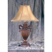 Brown Carved Urn Style Tassel Table Lamp 30 Lamps With Beaded Bell Shade
