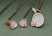 2.60ct Natural Round Diamond 14k Solid Rose Gold Earring Pendant Set