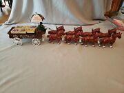 Vintage Cast Iron 8 Horse Drawn Vegetable Wagon And Driver