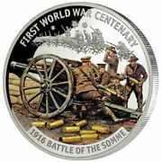 2016 Solomon Is 10 Silver Proof Wwi Centenary Battle Of The Somme W/ Box And Coa