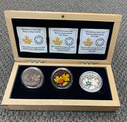 2014 Majestic Maple Leaf Rcm 3 Coin Set With Colour And Jade - Pure .9999 Silver