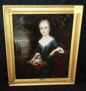 18c English Oil Painting Girl And Dog Attributed Willem Verelst 1704-1752