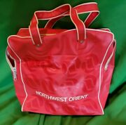 Vintage Red Northwest Orient Airlines Airplane Travel Bag Carry On Tote