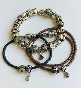 Authentic Pandora Bracelet Lot Of 3 Silver Gold Leather Lucky 27 Charms Retired