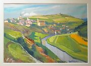 Ernst Vollbehr 1876-1960 And039landscape With A Riverand039 1937 Gouache Painting German