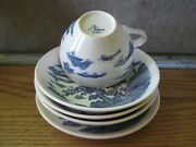 Nara Japan Flow Blue And White China Landscape Design Cup Bowls Plate Lot Of 5