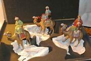 Marolin Germany Paper Mache Three Wise Men 3 Magi On Camels 6 Nativity Figures