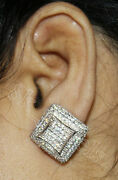 Black Friday 3.72ct Natural Diamond 14k Solid White Gold Stud Earring