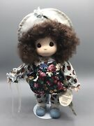 Precious Moments 12 Doll Blue Bell Month Of February With Stand Lady Bug