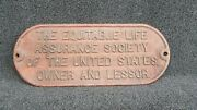 Antique Railroad Plate - The Equitable Life Assurance Society Of Untied States