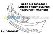New Genuine Saab 9-3 2008-2011 Linear Front Bumper Cover W/ Hl Washers 32016147