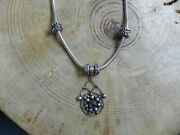 Pandorasterling Silver Moments Charm Necklace W Purple Charms And Pendant