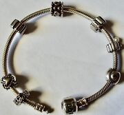 7 1/4 Pandora Sterling Silver Charm Bracelet 5 Charms And 2 Spacer Charms