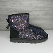 Ugg Classic Mini Bailey Bow Cosmos Black Sparkle Boots Size 7