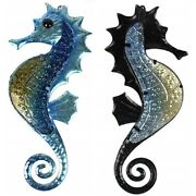 Seahorse Metal Wall Art Hanging Home Decor Sea Life Sculpture Iron And Glass Decor