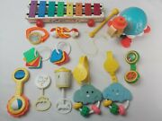 Lot Of 12 Vintage Fisher Price Baby Toys Xylophone Rattle Turtle 1960s 70s 80s