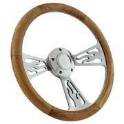 1989-1991 Ford Cars Steering Wheel Kit Polished Flamed Aluminum And Real Oak Wood
