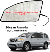 Side Window Front Seat Reflective Sunshade For 2004-2016 Nissan Armada 2 Pcs