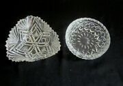 2 Vintage Small Pressed Glass Trinket Candy Dishes Great Patterns
