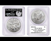 2020 P 1 Silver American Eagle Pcgs Ms70 Fdoi Emergency Production Cleveland
