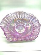 Pink Carnival Glass Grape And Cherry 8 Fluted Bowl Dish Iridescent
