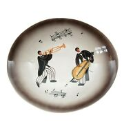 Mid Century Oval Ceramic Bowl Jazz Musicians Made In Italy Hand Painted