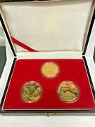 China The Changjiang Shanxia Commemorative Medals 3 X Gold Tokens. Very Scarce