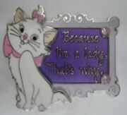 Disney Pin 133614 Marie I'm A Lady Aristocats Cat Pp Preproduction Only 3 Made