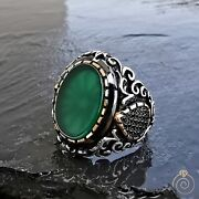 Ancient Mens Green Aqeeq Different Rings For Men Agate Promise Vintage Cool Size