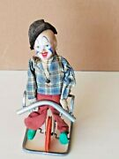 Vintage Toy Clown Unicycle Tight Rope Made In Western Germany Fewo/feco